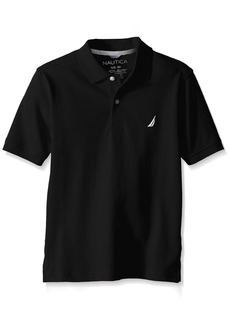 Nautica Big Boys' Short Sleeve Heritage Pique Polo Black
