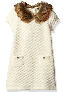 Nautica Big Girls Double Knit Quilted Dress with  Cream