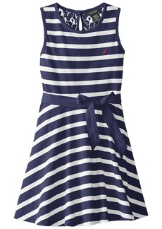 Nautica Big Girls' Jersey Stripe Tank Dress with Lace Back Yoke EL Navy