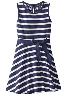 Nautica Big Girls' Jersey Stripe Tank Dress with Lace Back Yoke EL Navy