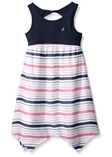 Nautica Girls' Big Knit Dress Wth Stripe Chiffon Skirt