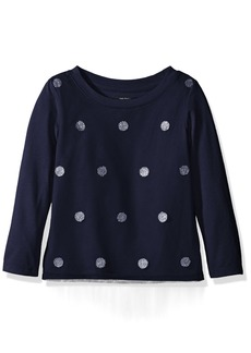Nautica Big Girls' Knit Top with Mesh Overlay and Glitter Dot Navy