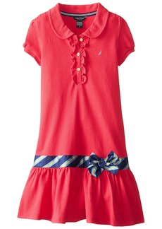 Nautica Big Girls' Pique Polo Dress with Gold Buttons Medium Pink