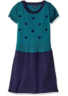 Nautica Big Girls Polka Dot Pleated Sweater Dress Navy