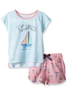 Nautica Big Girls' Sailboat Short Pajama Set  XLarge