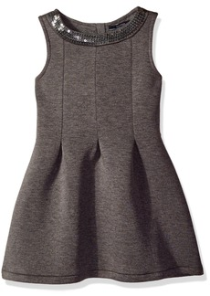 Nautica Big Girls Scuba Box Pleat Dress with Sequin Neckline Medium Grey Heather