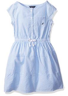 Nautica Big Girls' Short Sleeve Stripe Oxford Dress with Button Placket