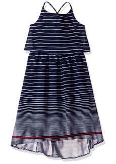 Nautica Big Girls' Stripe Chiffon Dress with Hi Low Hem