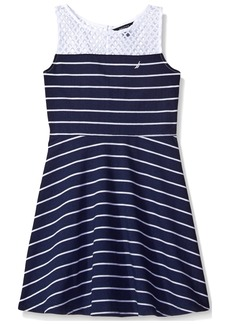 Nautica Big Girls' Stripe Knit Dress with Mesh Yoke