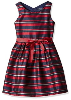 Nautica Big Girls Stripe Taffeta Dress with Grosgrain Sash