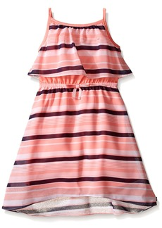 Nautica Big Girls' Tiered Chiffon Stripe Dress
