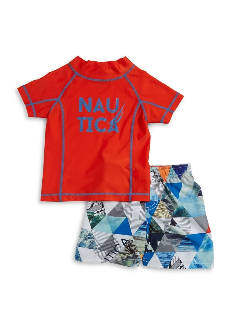 91315c0e90 Nautica NAUTICA Boys 2-7 Little Boys Rash Guard and Swim Trunks Set ...