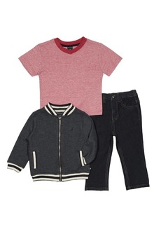 Nautica Boys' Baseball Jacket Tee and Denim Pant Set