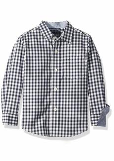 Nautica Boys' Big Long Sleeve Gingham Woven Shirt