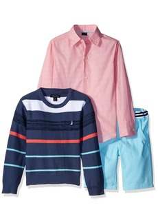 Nautica Boys' Little Button Down Shirt Striped Sweater and Twill Short Three Piece Set