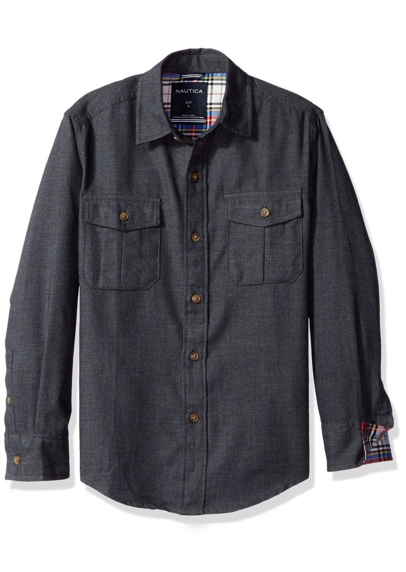 Nautica nautica boys 39 little captain flannel long sleeve for Nautica shirts on sale