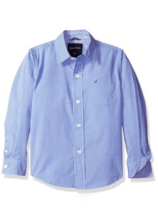 Nautica Boys' Little Long Sleeve Gingham Woven Shirt