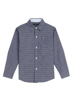 Nautica Boys' Little Long Sleeve Solid Woven Shirt