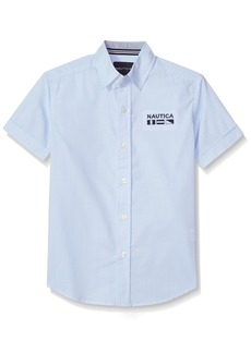 Nautica Boys' Little Short Sleeve Mini Stripe Shirt max Blue Bell