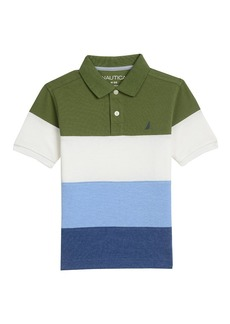 Nautica Boys' Short Sleeve Color Block Bold Stripe Polo