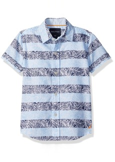 Nautica Boys' Short Sleeve Printed Woven Shirt