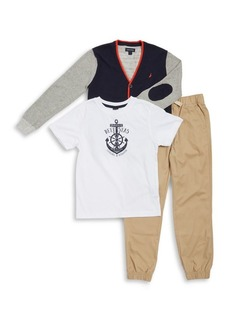 Nautica Boy's Three-Piece Sweater, Tee & Pants Set