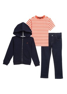 Nautica Boys' Toddler Fleece Hoodie Tee and Jogger Pant Set