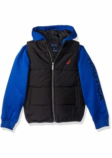 Nautica Boys' Toddler Midweight Water Resistant Hybrid Fleece Hoody Quilted Vest