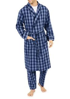 Nautica Buffalo Plaid Cotton Shawl Collar Robe