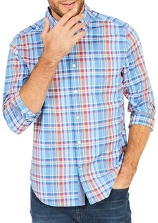 Nautica Classic-Fit Clear Plaid Stretch Button-Down Shirt
