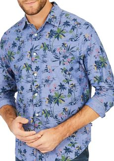 Nautica Classic-Fit Floral-Print Cotton Button-Down Shirt