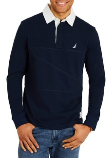 Nautica Classic Fit Long Sleeve Pieced Woven Collar Shipman Polo