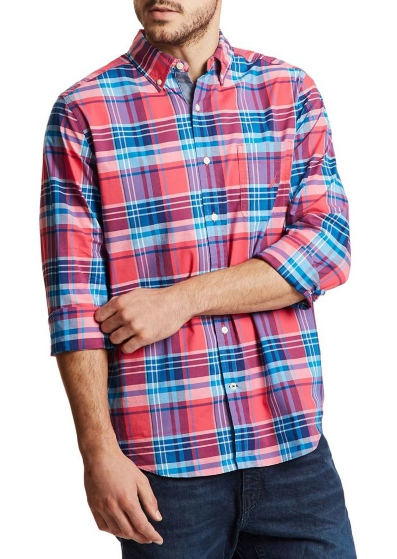 Nautica Classic-Fit Plaid Button-Down Shirt