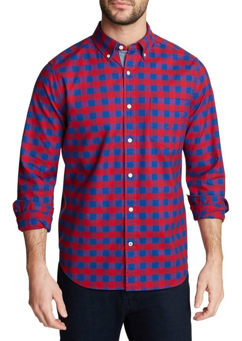 Nautica Classic-Fit Plaid Oxford Shirt
