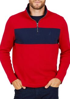 Nautica Colorblock Half-Zip Cotton Pullover