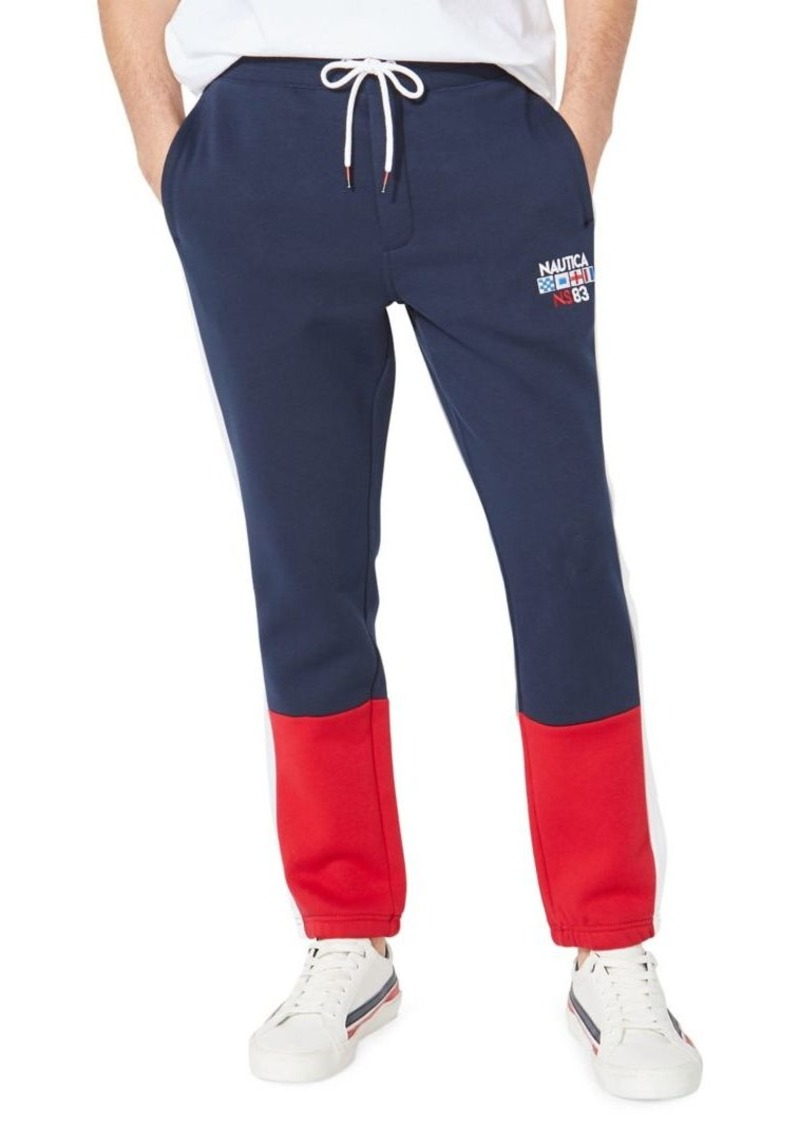 Nautica Colorblock Stretch-Cotton Track Pants