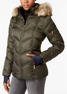 Nautica Faux-Fur-Trim Water-Resistant Puffer Coat