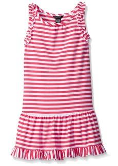Nautica Girls' Big Girls Drop Waist Stripe Dress with Ruffle Details