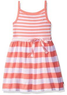 Nautica Girls' Big Girls Multi-Stripe Tank Dress with Grosgrain Sash Soft Coral