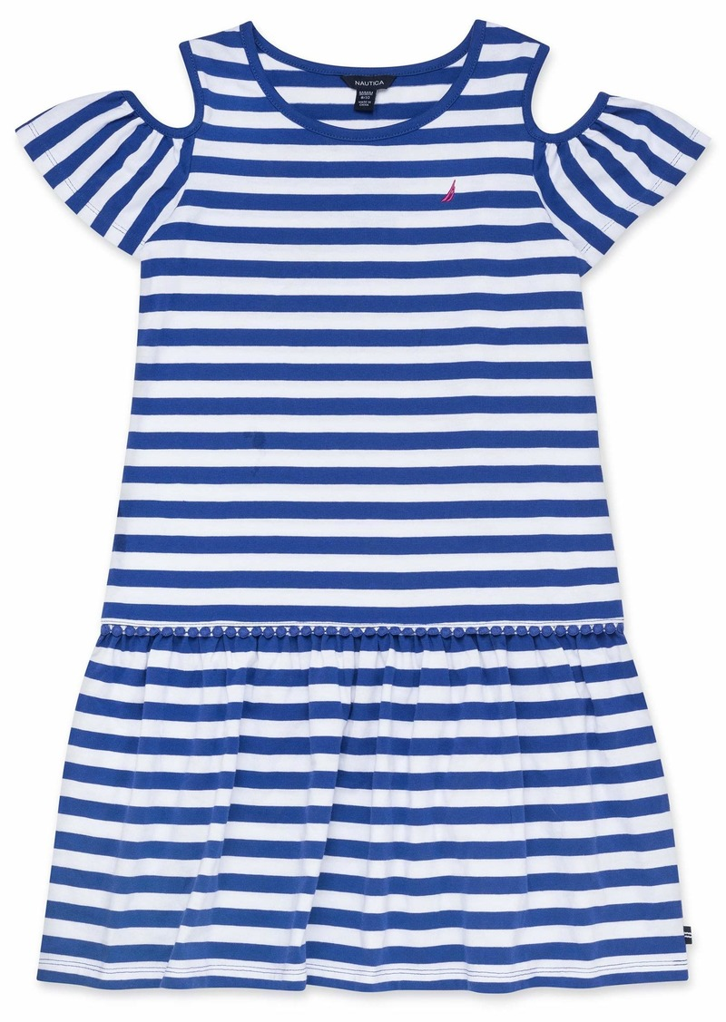 Nautica Girls' Cold Shoulder Fashion Dress stripe dark blue