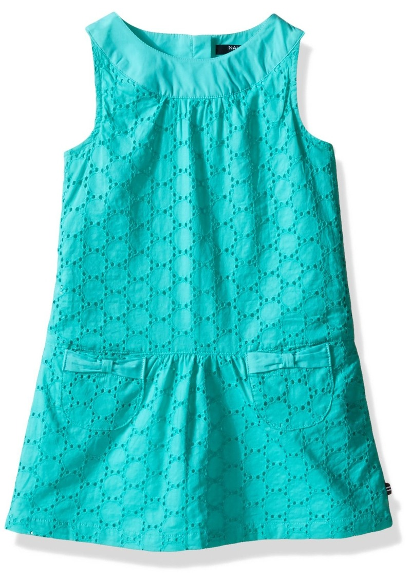 Nautica Little Girls' Toddler Eyelet Dress with Round Collar and Pockets