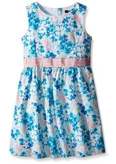 Nautica Little Girls' Toddler Floral Print Dress with Grosgrain Belt