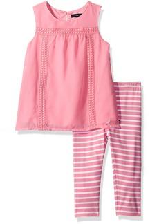 Nautica Girls' Little Chiffon Top with Stripe Legging Set