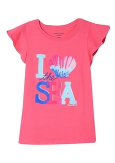 Nautica Girls' Little Fashion Silhouette Graphic Tee Shirt Dark Pink I Heart The sea 6X