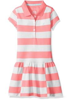 Nautica Little Girls' Pique Dress with Offset Stripe Skirt and Flat Knit Collar