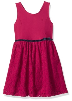 Nautica Girls' Little Lace Dress with Velvet Taping Berry