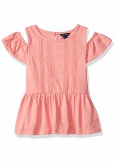 Nautica Girls' Little Long Sleeve Fashion Sweaters Salmon lace