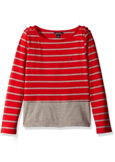 "Nautica Girls' Little Stripe ""Layered"" Knit Top with Grommet and Cord Detail"