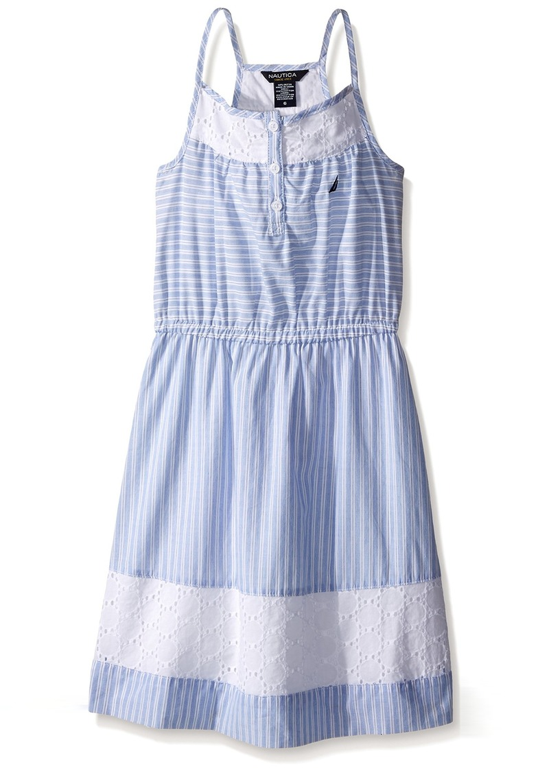 Nautica Girls' Ministripe Dress with Eyelet Inserts