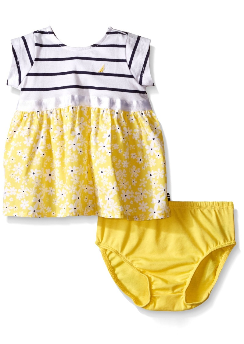 Nautica Little Girls' Toddler Stripe Dress Top with Priinter Woven Skirt
